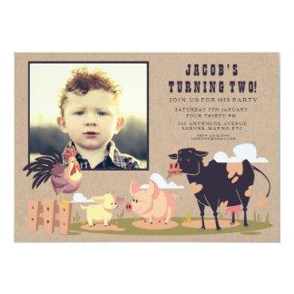 Foto van de Verjaardag van het Boerenerf van de 12,7x17,8 Uitnodiging Kaart