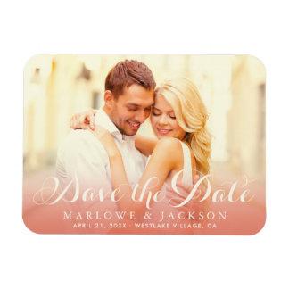 Foto van het huwelijk sparen Datum | nam Goud toe Vinyl Magneten