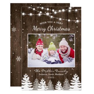 Foto van Kerstmis van de Sneeuw van de Bomen van Kaart