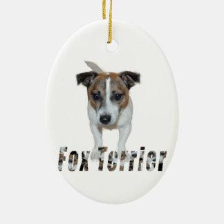 Fox-terrier en het Logo van de Fox-terrier, Keramisch Ovaal Ornament