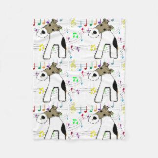 Fox-terrier & Muziek Fleece Deken