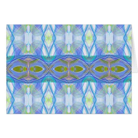 fractal blauw etnisch patroon wenskaart