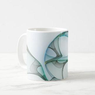 Fractal de Blauwe Turkooise Grijze Abstracte Koffiemok