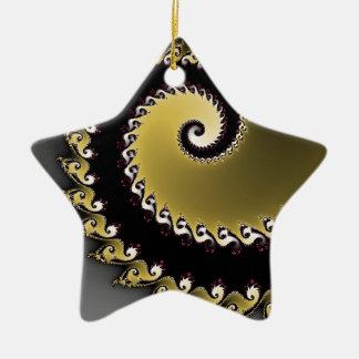 Fractal. Goud, zwart zilver, Keramisch Ster Ornament