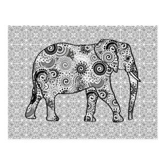 Fractal grijze wervelingsolifant -, zwart-wit briefkaart