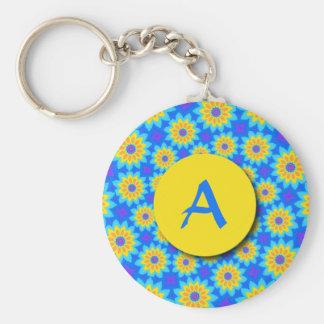 Fractal het Blauwe Monogram Keychain van de Sleutelhanger