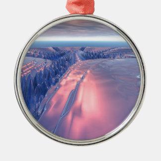 Fractal het Landschap van de Gletsjer Zilverkleurig Rond Ornament