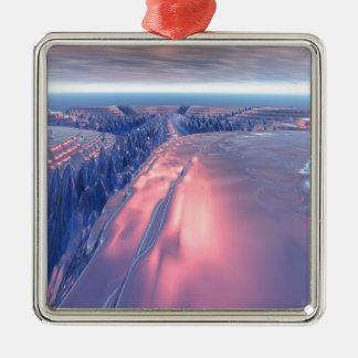 Fractal het Landschap van de Gletsjer Zilverkleurig Vierkant Ornament