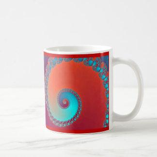 Fractal, het rood en het turkoois van slakken koffiemok