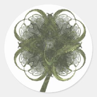 Fractal van de Klaver van vier Blad Kunst met Stam Ronde Sticker