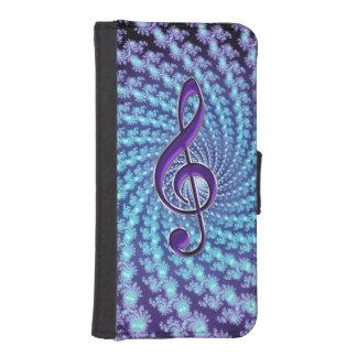 Fractal van de paarse Sleutel van de Muziek het Sp iPhone 5 Portefeuille Hoesjes
