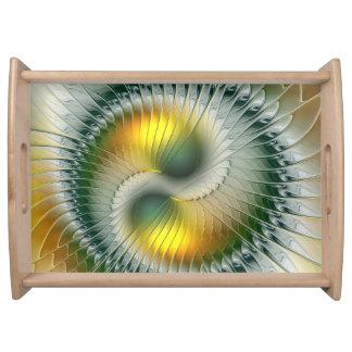 Fractal van Yang van Yin Groene Gele Abstracte Dienblad