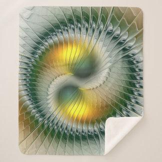 Fractal van Yang van Yin Groene Gele Abstracte Sherpa Deken
