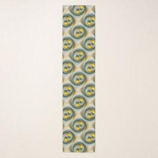 Fractal van Yang van Yin Groene Gele Abstracte Sjaal