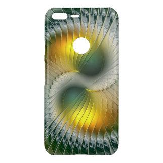Fractal van Yang van Yin Groene Gele Abstracte Uncommon Google Pixel XL Hoesje