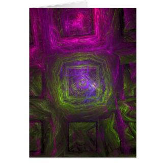 Fractal Vierkanten in roze paars en groen Kaart