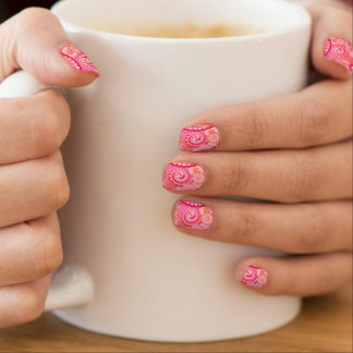 Fractal wervelingspatroon, roze, fuchsia, koraal minx nail folie