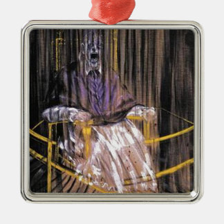 Francis Bacon - Gillende Pausen Zilverkleurig Vierkant Ornament