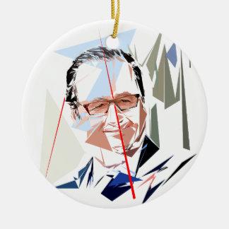 François Hollande Rond Keramisch Ornament