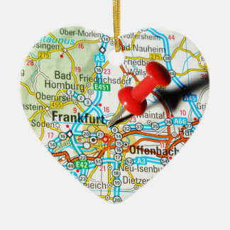 Frankfurt, Duitsland Keramisch Hart Ornament