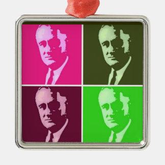Franklin D. Roosevelt Zilverkleurig Vierkant Ornament