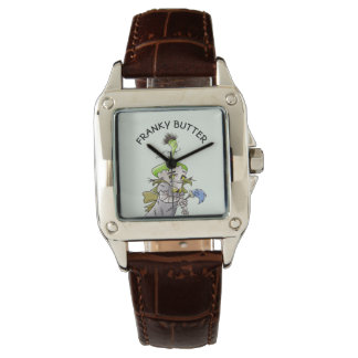 FRANKY BUTTER ALIEN CARTOON Perfect Vierkant Bruin Horloge