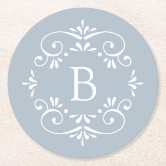 Frans Blauw en Wit Elegant Monogram Ronde Onderzetter
