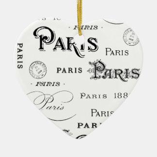 Frans vintage typografieontwerp Parijs Keramisch Hart Ornament