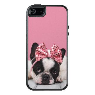 Franse Buldog die Roze dragen OtterBox iPhone 5/5s/SE Hoesje