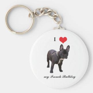 Franse Buldog, houd ik van hart, keychain, giftide Basic Ronde Button Sleutelhanger