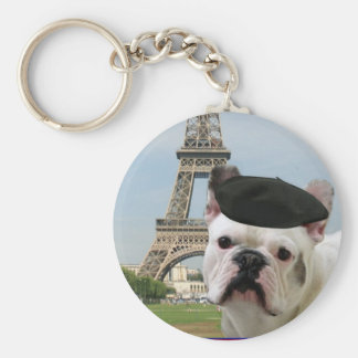 Franse Buldog in Parijs keychain Basic Ronde Button Sleutelhanger