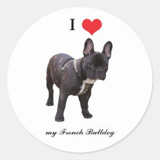 Franse Buldoggen, houd ik van hart, sticker, Ronde Sticker