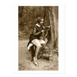 Franse Flirt - de Vintage Lezing van het Meisje Briefkaart