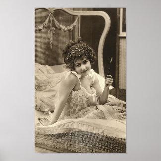 Franse Flirt - Vintage Meisje Pinup Poster