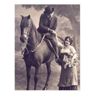 Franse Flirt - Vintage Romantisch Paard Briefkaart