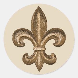 Franse Golden Fleur DE Lis CREST Ronde Sticker