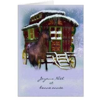 Franse Kerstkaart - Paard en Oude Caravan - PB Wenskaart
