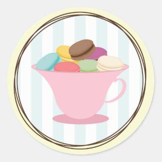 Franse Macarons in de Roze Sticker van de Kop van