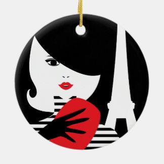 Franse modieuze de modeillustratie van de mode rond keramisch ornament
