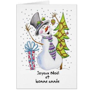 Franse - Sneeuwman - Gelukkige Sneeuwman - Joyeux Kaart