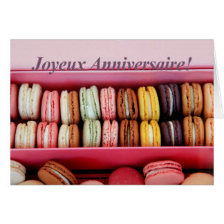 Franse Verjaardag macaron-Joyeux Anniversaire! Wenskaart