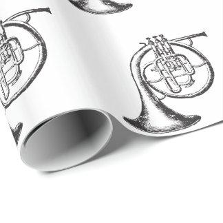 Franse Zwart-witte Hoorn Inpakpapier
