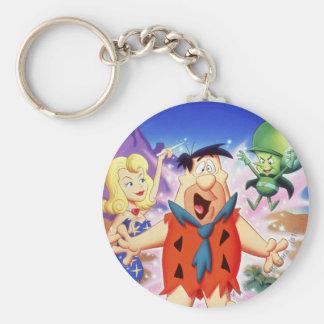 Fred Flintstone onder een Werktijd Basic Ronde Button Sleutelhanger