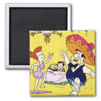 Fred Flintstone Wilma Barney en Betty Fiesta Vierkante Magneet