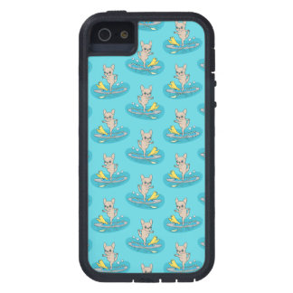 Frenchie die yoga op stand-up peddelraad doen tough xtreme iPhone 5 hoesje