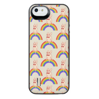 Frenchie viert de Maand van de Trots op regenboog iPhone SE/5/5s Batterij Hoesje