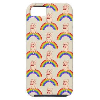 Frenchie viert de Maand van de Trots op regenboog Tough iPhone 5 Hoesje