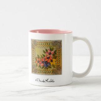Frida Kahlo Geschilderde Flores Tweekleurige Koffiemok