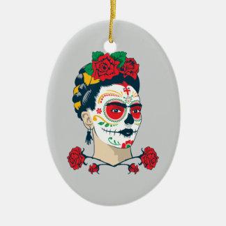 Frida Kahlo | Gr Día DE los Muertos Keramisch Ovaal Ornament