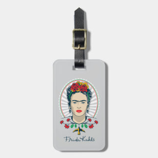 Frida Kahlo   Vintage Bloemen Bagagelabel